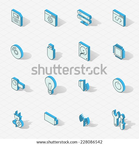 3d vector isometric design icons set. Objects: lamp, cd, processor, computer, battery, hard drive, camera, devices and gadgets - stock vector