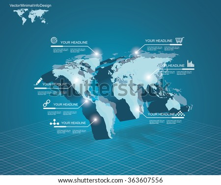 3d vector Light World map with pointer marks - communication concept and infographics design template - stock vector