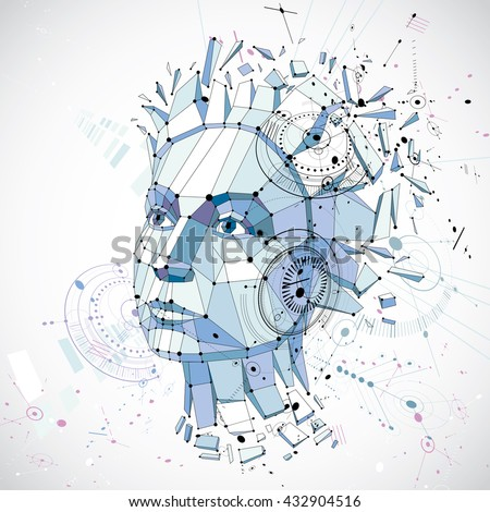 3d vector low poly portrait of a smart woman, human thoughts metaphor. Artistic background made using modern technology style visual elements, mechanical scheme parts and connected lines. - stock vector
