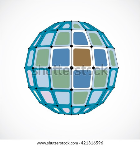 3d vector low poly spherical object with black connected lines and dots, geometric colorful wireframe shape. Perspective facet orb created with squares. - stock vector