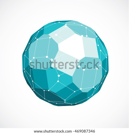 3d vector low poly spherical object with black connected lines and dots, geometric green wireframe shape. Perspective facet ball created with squares and pentagons.