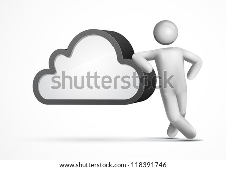 3d vector man leaning on a cloud. Cloud computing concept illustration. All elements are layered separately in vector fime. Mesh used EPS10 file. - stock vector
