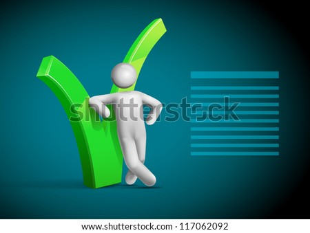 3d vector man leaning question mark symbol. All elements are layered separately in vector file. Mesh used EPS10 file. - stock vector