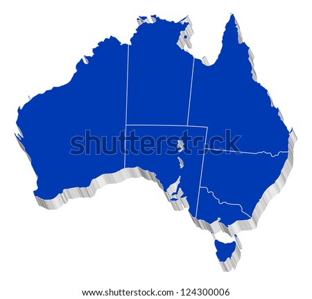 3D vector map of Australia Each State is it's own shape and can be colored to your own preference. - stock vector