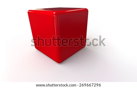 3D vector model of a red Cube. isolated on white. The cube has a shadow. - stock vector