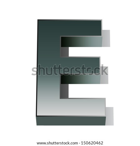 3d vector of the silver letter E on a white isolated background.  - stock vector