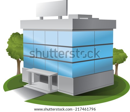 3D Vector office building illustration clipart - stock vector
