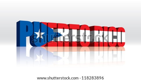 3D Vector Puerto Rico Word Text Flag