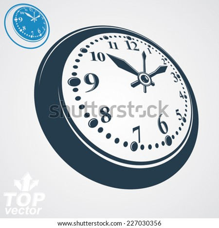 3d vector round wall clock, simple version included. Time idea conceptual classic symbol. Elegant graphic dimensional ticker. - stock vector
