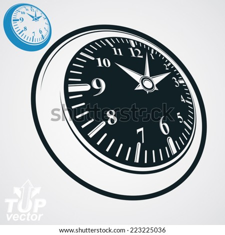 3d vector round wall clock with black dial, simple version included. Time idea conceptual classic symbol. Elegant graphic dimensional ticker. - stock vector