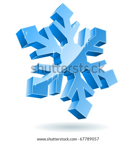3D vector snowflake isolated on white background. - stock vector