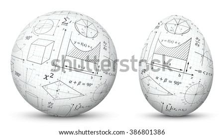 3D Vector Sphere and Egg - Side by Side - Geometrical Objects Textured with Mathematical Formulas. Spherical and Egg Shaped Item. Orb and Oval - Isolated on White Background - Each Form in Own Layer. - stock vector