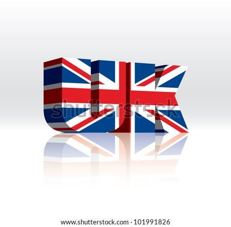 3D Vector UK Word Text Flag - stock vector