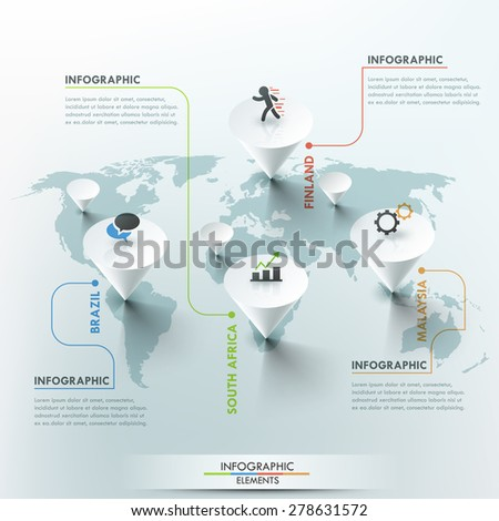 3d vector world map illustration and info graphics design template. Can be used for workflow layout, banner, diagram, number options, step up options, web design, timeline. - stock vector