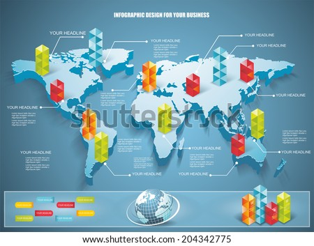 3 d vector world map illustration modern stock vector 204342775 3d vector world map illustration with modern elements of info graphics gumiabroncs Choice Image