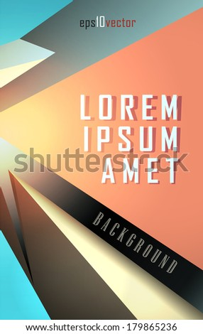 3d Vertical Abstract vector background in crystalline forms. Eps10. - stock vector