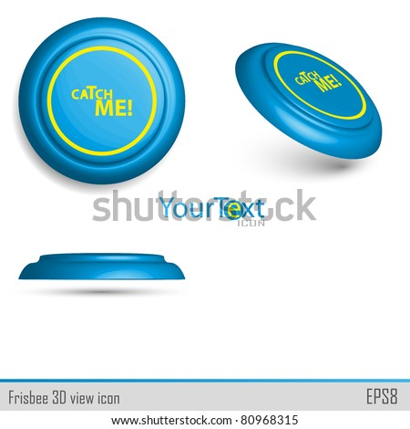 3D view of blue icon frisbee.Vector illustration. - stock vector
