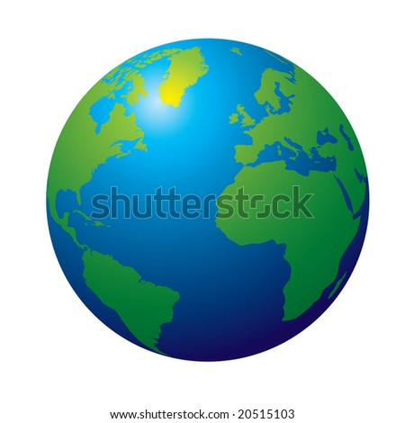 3d view of the earth in tradtional colours green and blue