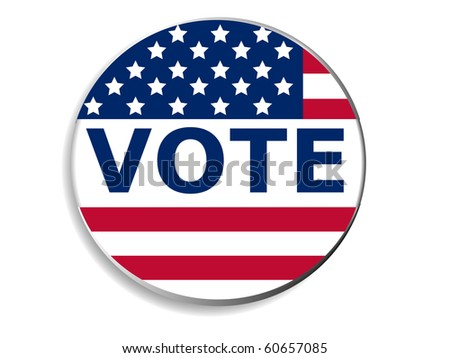 3d Vote pin with USA flag - stock vector