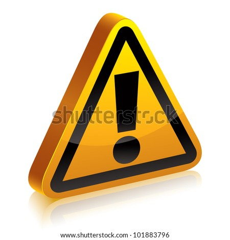 3d warning sign with exclamation point vector symbol. - stock vector