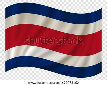 3D Waving Flag of Costa Rica. Vector illustration