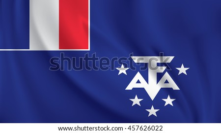 3D Waving Flag of French Southern and Antarctic Lands - stock vector
