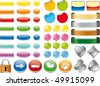 3D web buttons and icons different colors - stock vector
