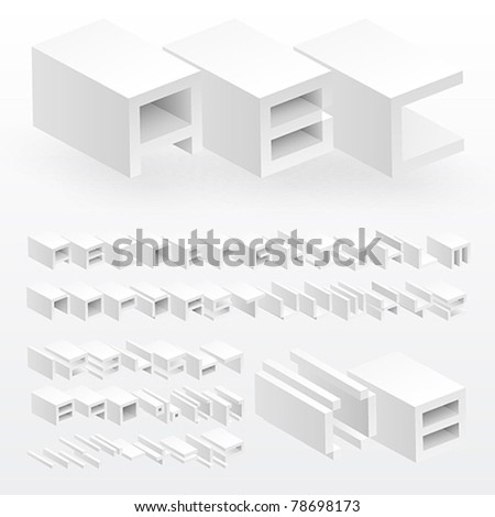 3d white alphabet and numbers. Vector illustration. - stock vector