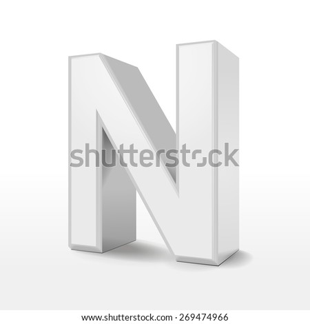 3d white alphabet N isolated on white background