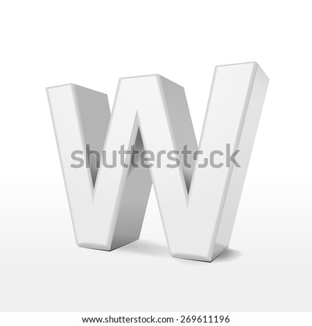 3d white alphabet W isolated on white background - stock vector