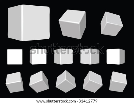 3d white cubes - stock vector