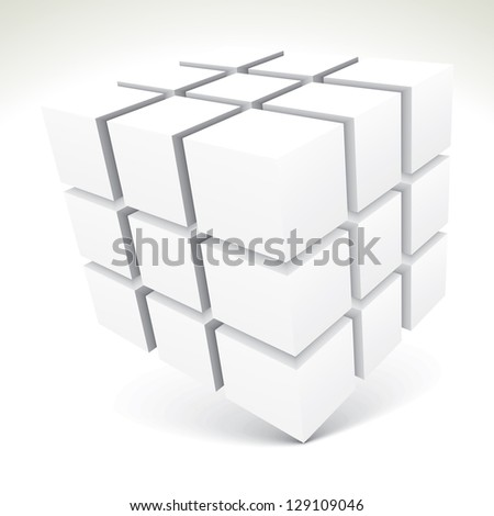 3D white cubes - vector illustration - stock vector