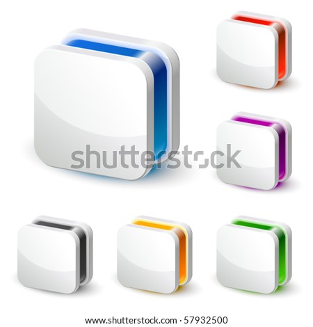 3d white square business icon - stock vector