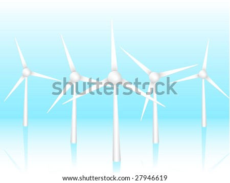 3D wind turbines on a blue background