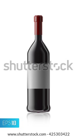 3d wine bottle mock up with red wine cork isolated on white background.Winery production.wine label.wine bottle - stock vector