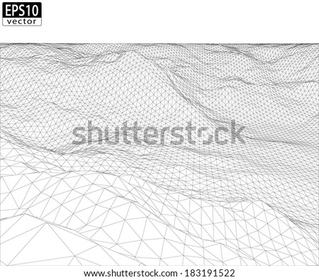 3D Wireframe Terrain with Straight Horizon (Wide Angle) | EPS10 Vector - stock vector