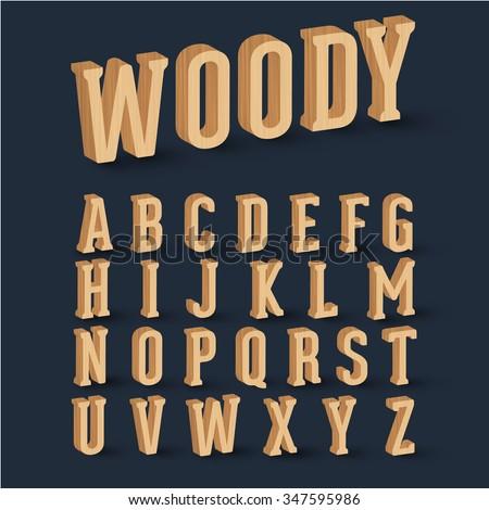 3D wood font set, vector - stock vector