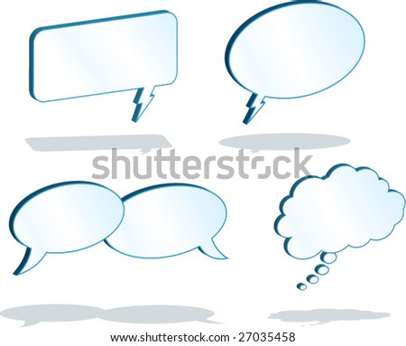 3D Word Balloons - vector illustrations - blue background is on a separate layer so it can easily be deleted. - stock vector
