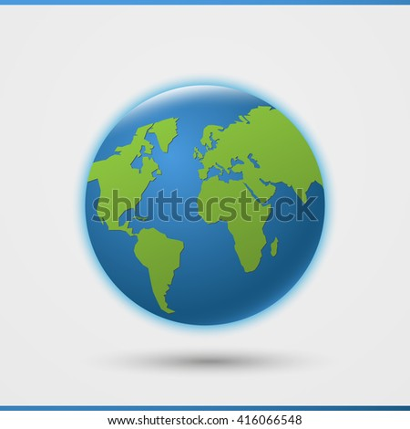 3d world globe icon green map vectores en stock 416066548 shutterstock 3d world globe icon with green map of the continents of the world gumiabroncs Gallery