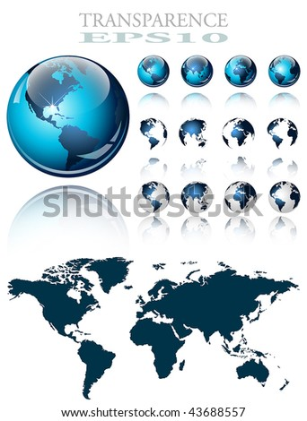 3d world map over the Earth Globe. 4 different views - vector illustration - stock vector