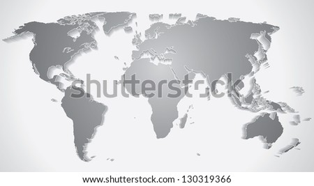 3D World Map Silhouette. Vector Graphics - stock vector