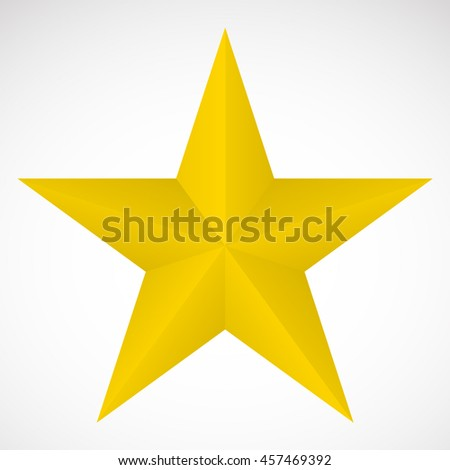 3D yellow star - stock vector