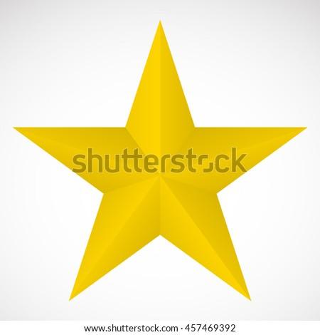 3D yellow star - stock vector