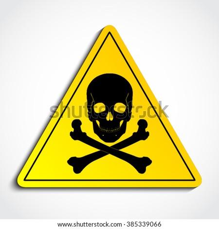 3d yellow triangle with skull crossbones / danger sign / vector illustration - stock vector