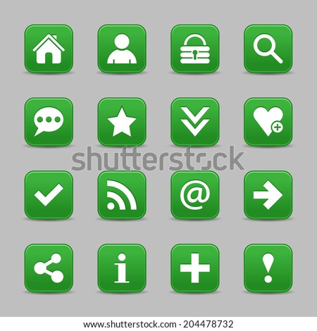 16 dark green satin icon with white basic sign on rounded square web button with black shadow on gray background. Vector illustration internet design element save in 8 eps - stock vector