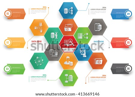 Data analysis,big data,database concept info graphic design,vector - stock vector