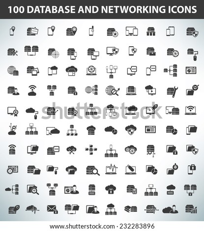 100 Database,Data Server and Networking icons,Black series,clean vector - stock vector