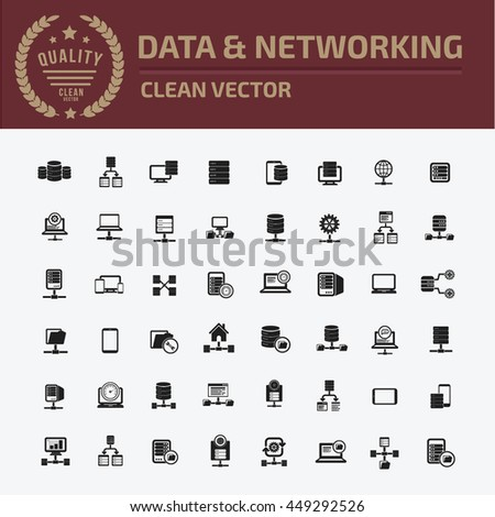 Database icon,Networking icon set,vector - stock vector