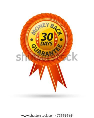 30 day money back guarantee sign - stock vector