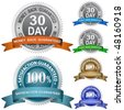 30 Day Money Back Guaranteed and 100% Satisfaction Guaranteed Sign Set - stock photo